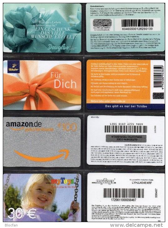 Cards Collection 4 Geschenk-Karten Kartenwelt Deutschland Neu 8€ Giftcards Tschibo Douglas Amazon My Toys H&M Of Germany - Tarjetas De Regalo