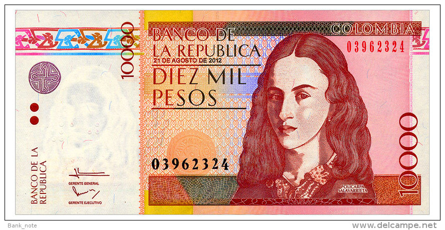 COLOMBIA 10000 PESOS 2012 Pick 453o Unc - Colombie