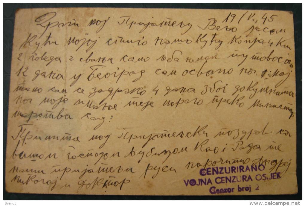 DFJ YUGOSLAVIA - V 1945 - VOJNA CENZURA OSIJEK - Occupation Card Vuk 2 Dinara Overstamped +3 D.F.J  - YU08/28 - Ganzsachen