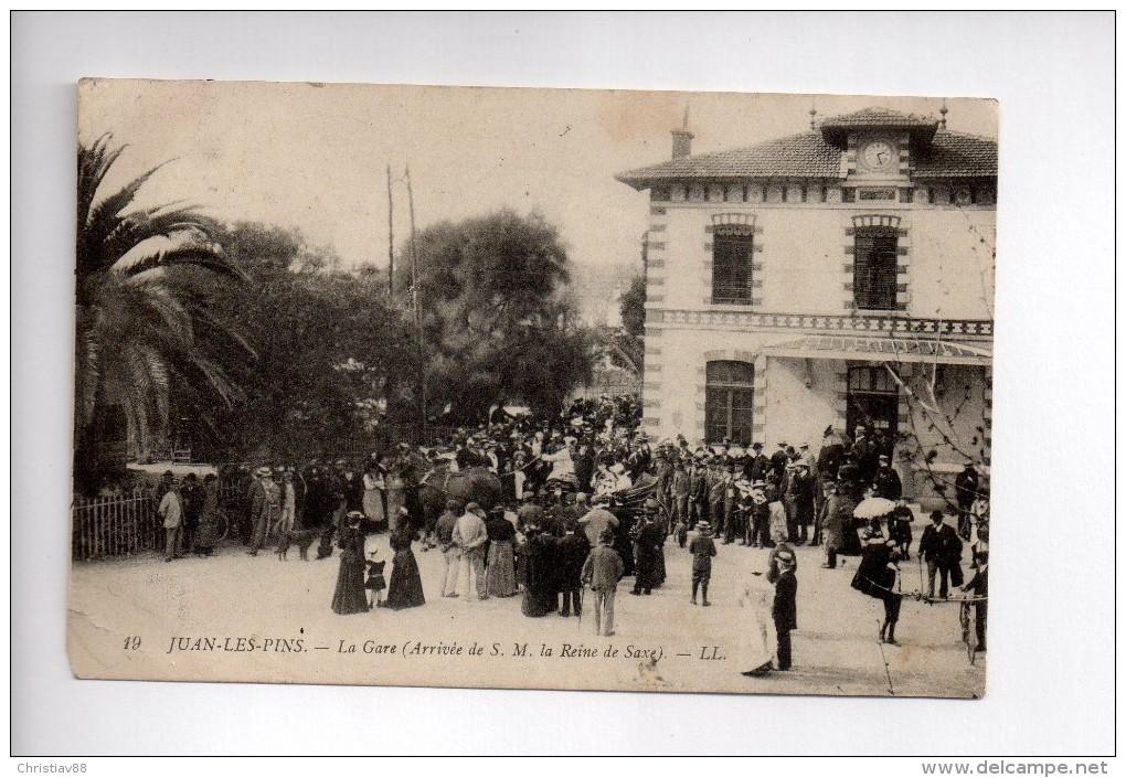JUAN-LES-PINS - La Gare - Arrivée De S.M. La Reine De Saxe  (b) - Juan-les-Pins