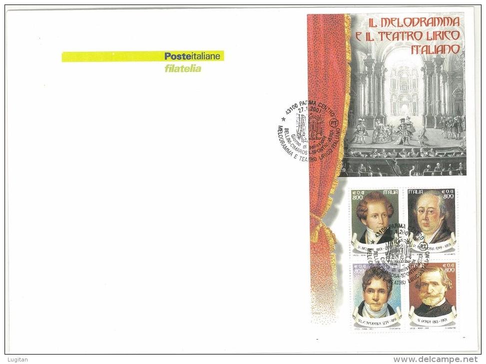 F.D.C. POSTE ITALIANE - ANNO 2001 - IL MELODRAMMA E IL TEATRO LIRICO ITALIANO - FOGLIETTO  - BUSTONE - 6. 1946-.. Repubblica