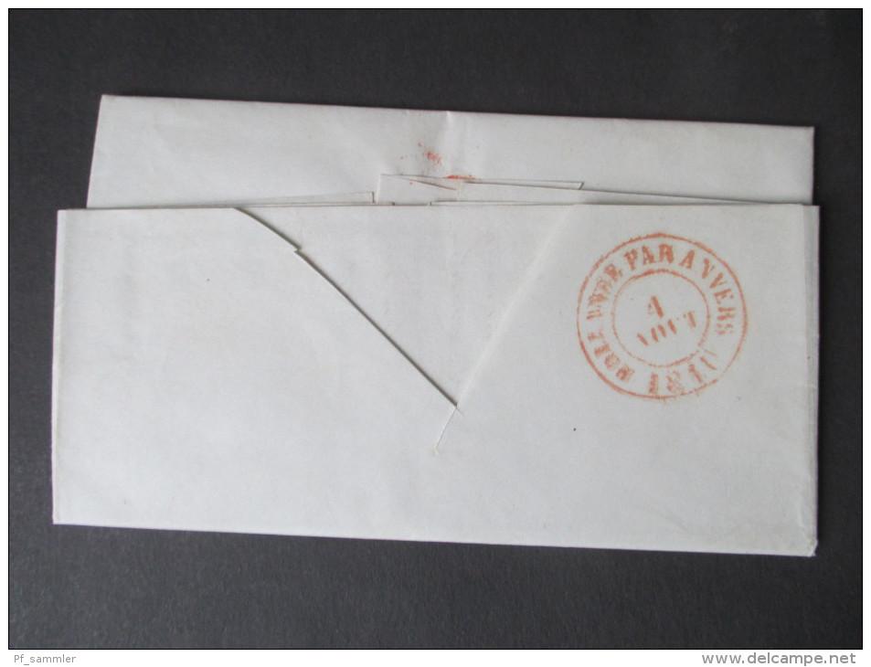 Niederlande Vorphila 1849. Rozendaal 3. Aug. Roter Stempel. Durchgestricherner Taxvermerk. Hollande Par Anvers.Antwerpen - Niederlande