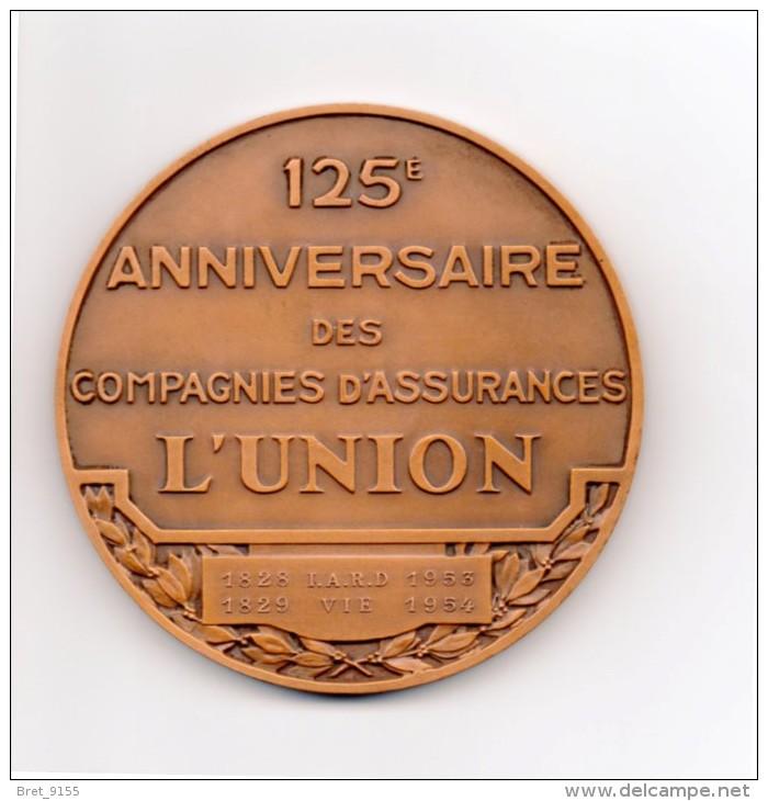MEDAILLE DANS BOITE D ORIGINE 125 ANNIVERSAIRE DES COMPAGNIES D ASSURANCES L UNION 1828 IARD 1953 1829 VIE 1954 BRONZE - France