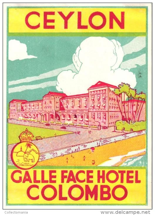 12 HOTEL Labels LAOS Settha Palace CEYLON SRI LANKA Colombo Taprobane CHINA Kowloon CAMBODGE Angkor MALAYA INDONESIA - Hotel Labels