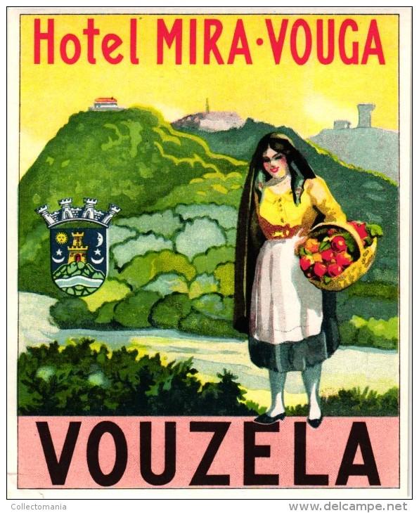 12 HOTEL Labels PORTUGAL Estoril Vouzela FUNDAO Vidago FATIMA Tomar PORTO SETUBAL - Hotel Labels