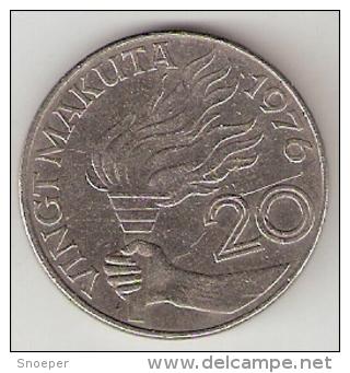 Zaire 20 Makuta 1976  Km 8 Vf+ - Zaire (1971-97)