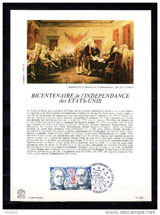 """FRANCE 1976 : Encart 1er Jour """" BICENTENAIRE DE L'INDEPENDANCE DES USA """" N° YT 1879. Parfait état ! FDC - Unabhängigkeit USA"""