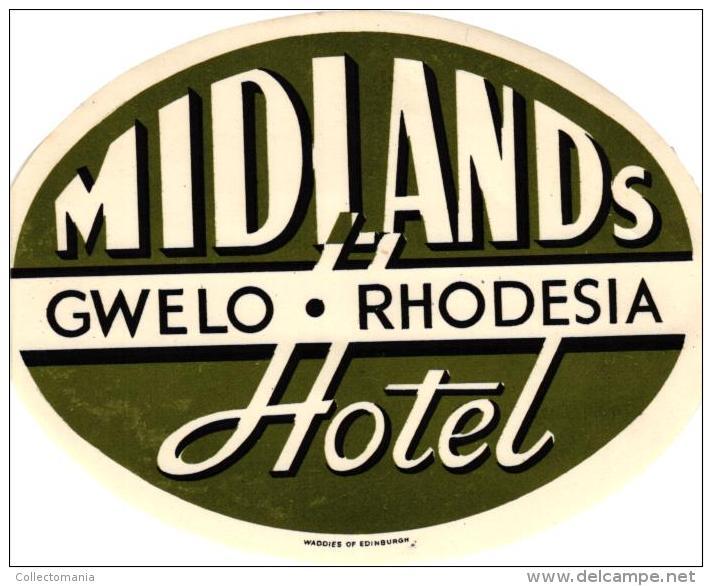 13 HOTEL Labels RHODESIA  RUANDA TANZANIA TANGANYIKA - Hotel Labels
