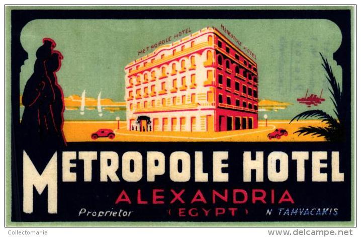12 HOTEL Labels SOEDAN Khartoum ETHIOPIA Addis Ababa TUNESIA Tripoli Monastir EGYPT Lexandria Luxor Cairo - Hotel Labels