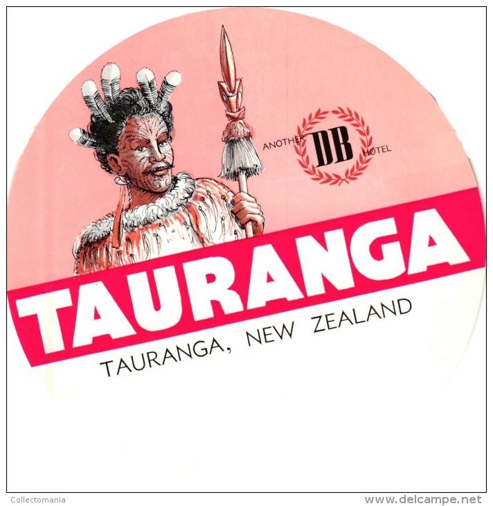 3HOTEL Labels NEW ZEALAND  Tauranga Rotorua Wellington Maori Aboriginal Australia - Hotel Labels