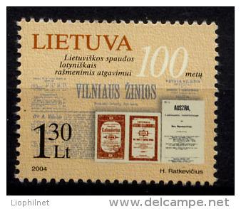 LITUANIE LIETUVA 2004, CENTENAIRE IMPRESSION EN CARACTERES LATINS, 1 Valeur, Neuf / Mint. R1057 - Litauen