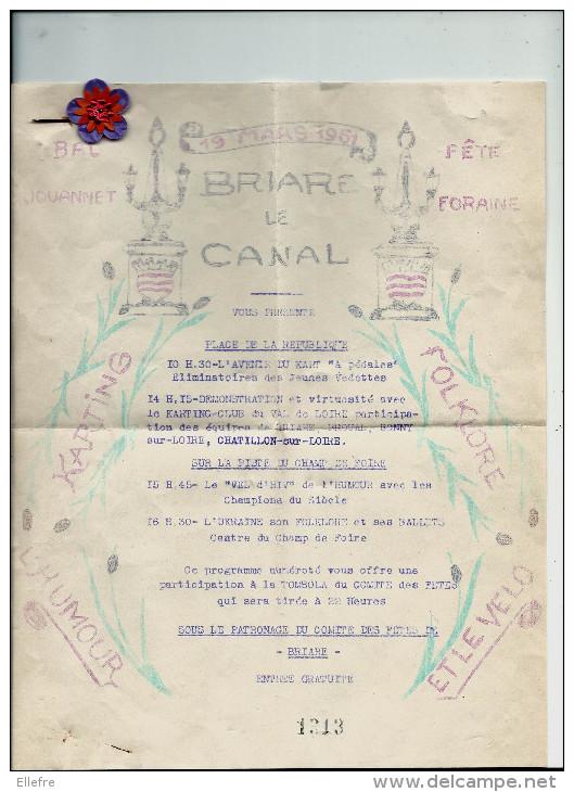 Programme Numéroté De Fête Foraine 19 /3/1961, Briare Le Canal , Velo Vel D´ Hiv De L´ Humour, Tombola , Blason Du Pont - Programmes