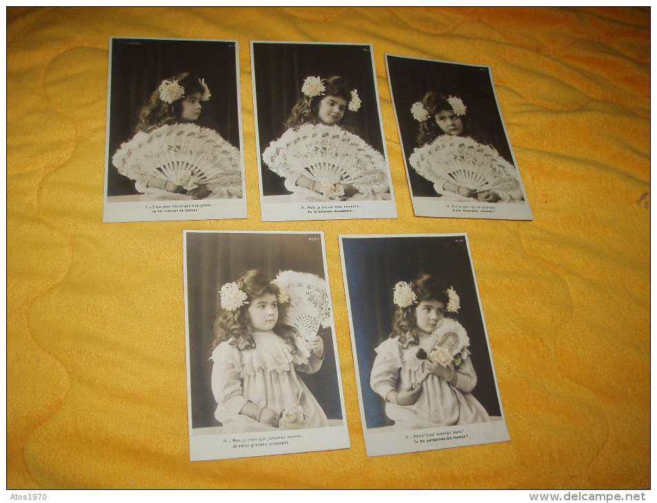 LOT DE 5 CARTES POSTALES ANCIENNES NON CIRCULEES DATE ?. / L' EVENTAIL / ENFANT. - Children