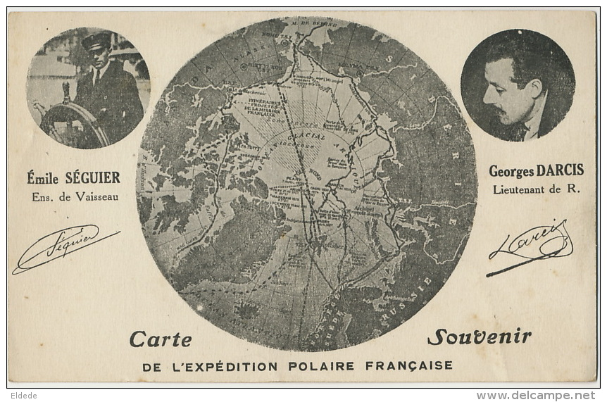 Expedition Polaire Française Emile Seguier Et Georges Darcis Carte Geographique Pole Nord Groenland - TAAF : Terres Australes Antarctiques Françaises