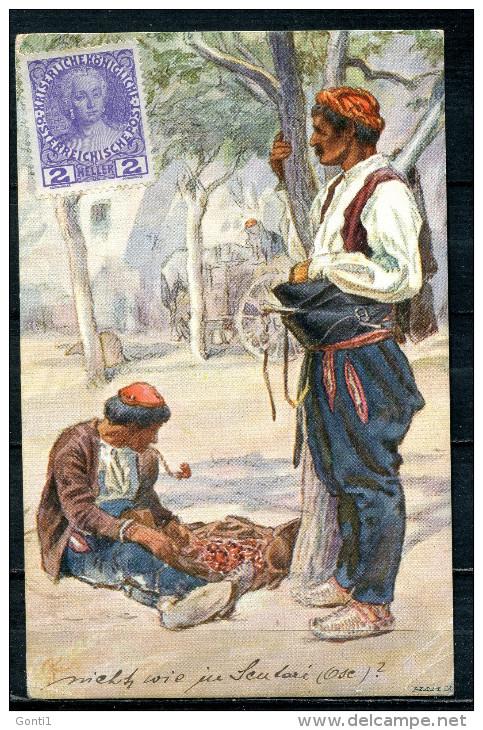 """CPA Color Signierte Künstlerkarte Österreich,Austria 1914""""Österr.-Ungar.-Volkstypen-Dalmatiner Aus Spalat""""1 AK Used,bef. - Europe"""