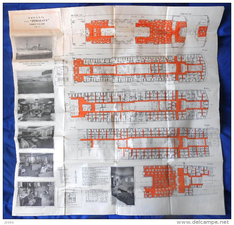 TSS HIMALAYA - FIRST CLASS 1957. DECK PLAN - British Shipping Co. P&O * Peninsular And Oriental Steam Navigation Company - Boats