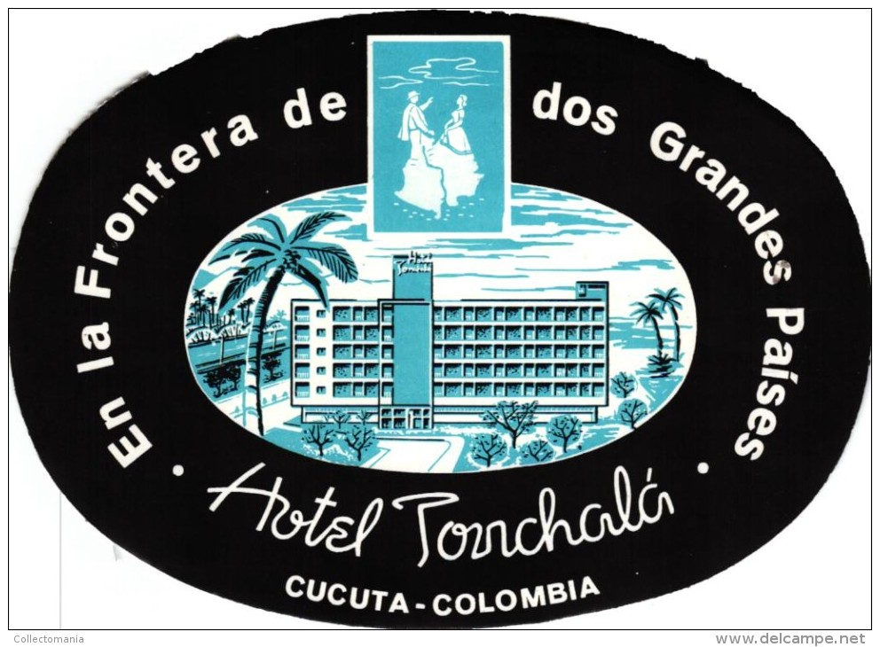 20 HOTEL Labels COLOMBIA Bogota Medellin Cali Barranquilla Pasto Neiva Pereira Cartagena Cartago Carrera Cucuta Ibague - Hotel Labels