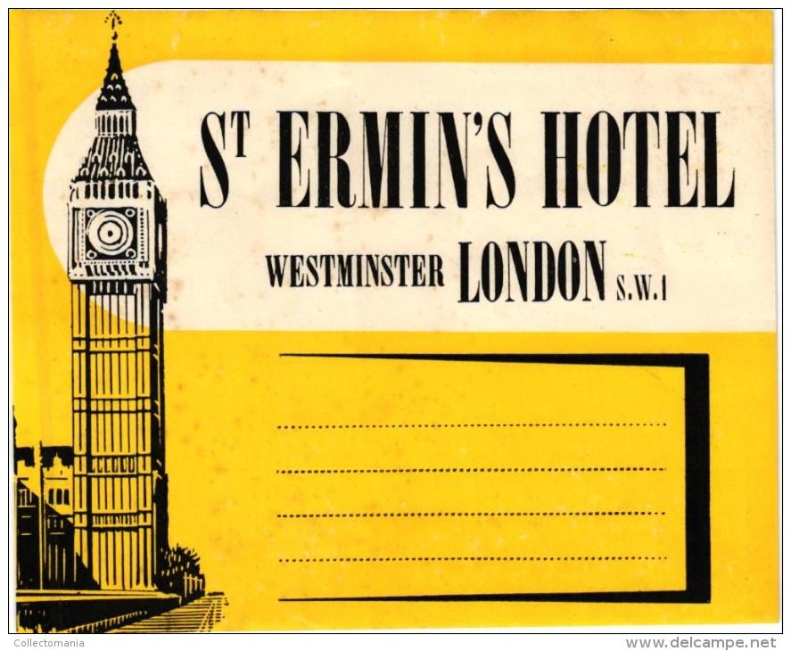 8 HOTEL Labels ENGLAND ANGLETERRE  LONDON  Dorchester Mount Royal Parkway Mostyn ST Ermin Claridge Howard- - Hotel Labels