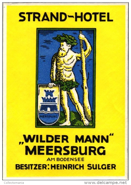 17 HOTEL Labels DEUTSCHLAND GERMANY ALLEMAGNE KOLN Bad Kissingen Assmannshausen Schliersee Villach Jena Meersburg - Hotel Labels