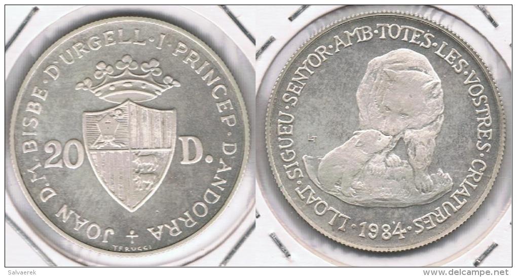ANDORRA 20 DINEROS 1984 PLATA SILVER T - Andorre