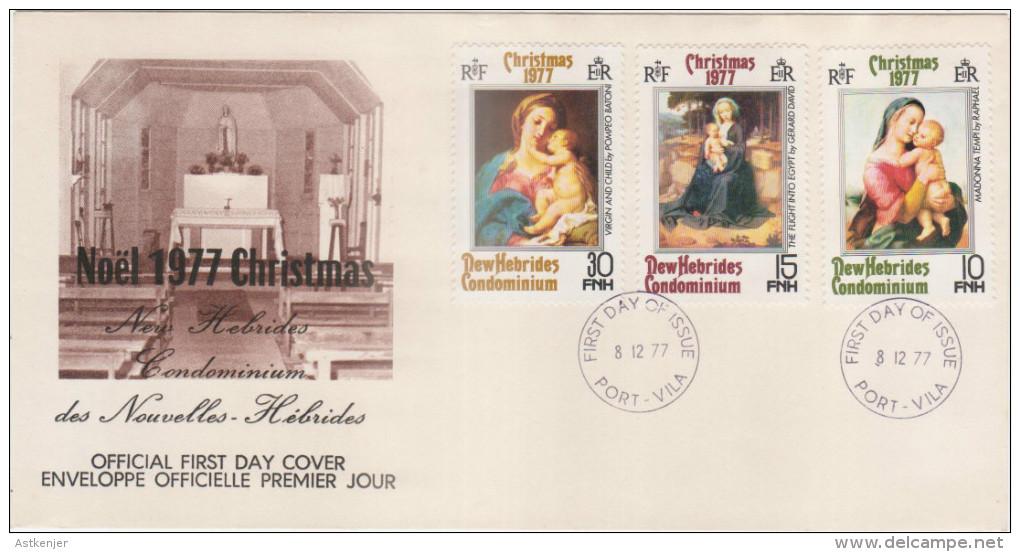 FDC NOUVELLES HEBRIDES 08.12.1977 - NOEL 1977 - FDC