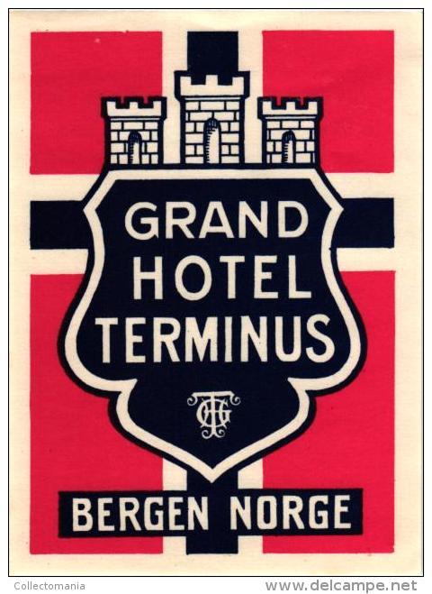 13 HOTEL Labels NORWAY NORVEGE Hamar Nesbyen Balestrand Trondhjem GJOVIK Oslo Bergen Molde - Hotel Labels