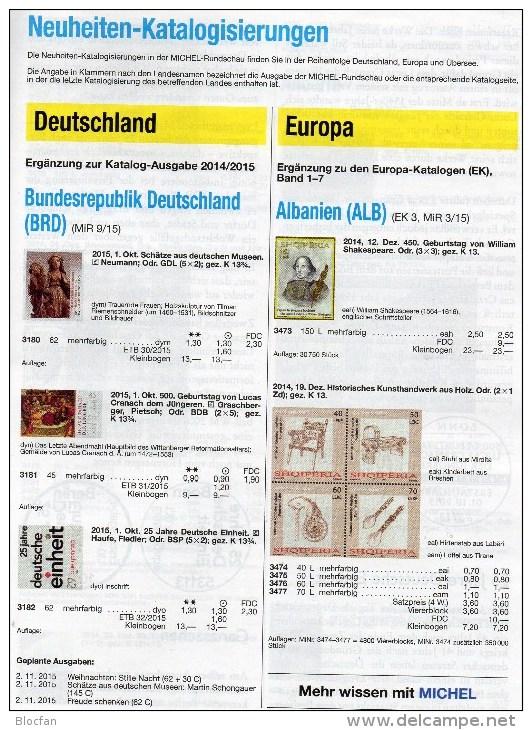 Rundschau MICHEL 10/2015 Sowie 10/2015-plus Briefmarken Neu 11€ New Stamp Of The World Catalogue And Magacine Of Germany - Zeitschriften: Abonnement
