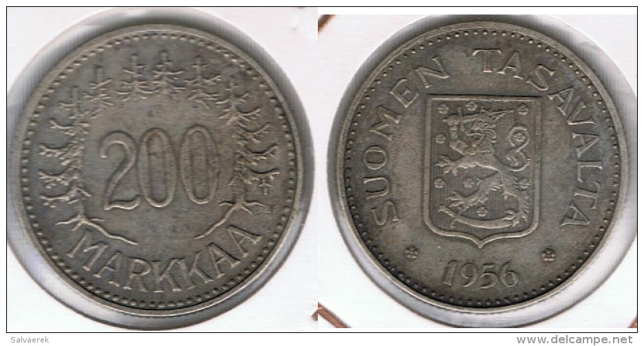 FINLANDIA 200 MARKKAA 1956 PLATA SILVER T - Finlandia