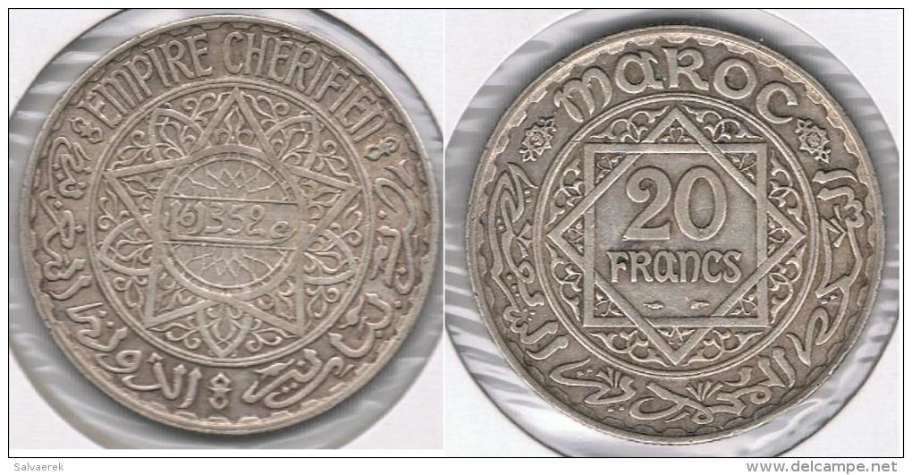 MARRUECOS IMPERIO CHERIFIEN  20 FRANCOS 1352 PLATA SILVER T - Marruecos