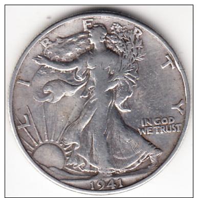 """ESTADOS UNIDOS 1941. SILVER HALF DOLLAR(MEDIO DOLAR DE PLATA ) LIBERTY WALKING.CECA""""D"""" DENVER.MBC,  VF.CN4370 - EDICIONES FEDERALES"""