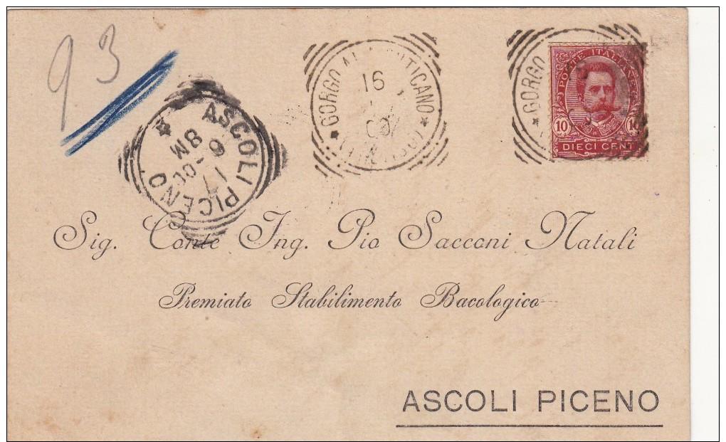 GORGO AL MONTICANO Treviso 1900 E ASCOLI PICENO - BOLLI TONDO RIQUADRATI - SX146 - 1878-00 Umberto I