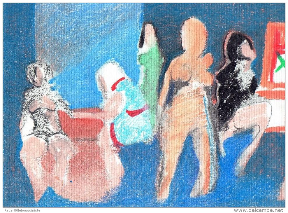 Personnages Post-cubistes.crayon Sur Papier.(Tesson) 319 X 240 Mm. - Aquarelles