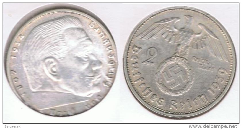 ALEMANIA  DEUTSCHES REICH 2 MARK A 1939 PLATA SILVER S2 - [ 4] 1933-1945 : Tercer Reich