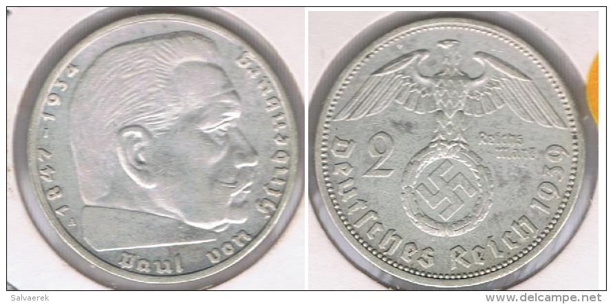ALEMANIA  DEUTSCHES REICH 2 MARK A 1939 PLATA SILVER S3 - 2 Reichsmark