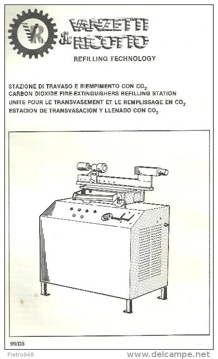 Catalogo, Depliant Estintori, Stazione Di Travaso E Riempimento Con CO2, Mod. 99/D3 Vanzetti E Ricotto - Altri