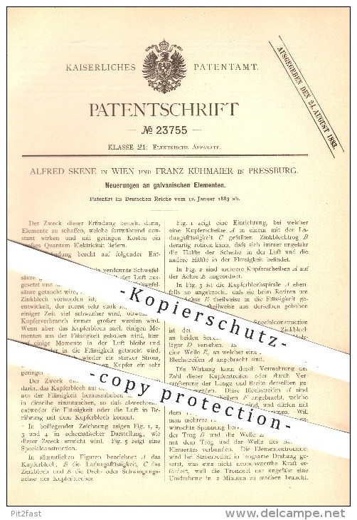 Original Patent - Alfred Skene In Wien & Franz Kühmaier In Pressburg , 1883 , Galvanische Elemente , Elektrizität !!! - Historische Dokumente