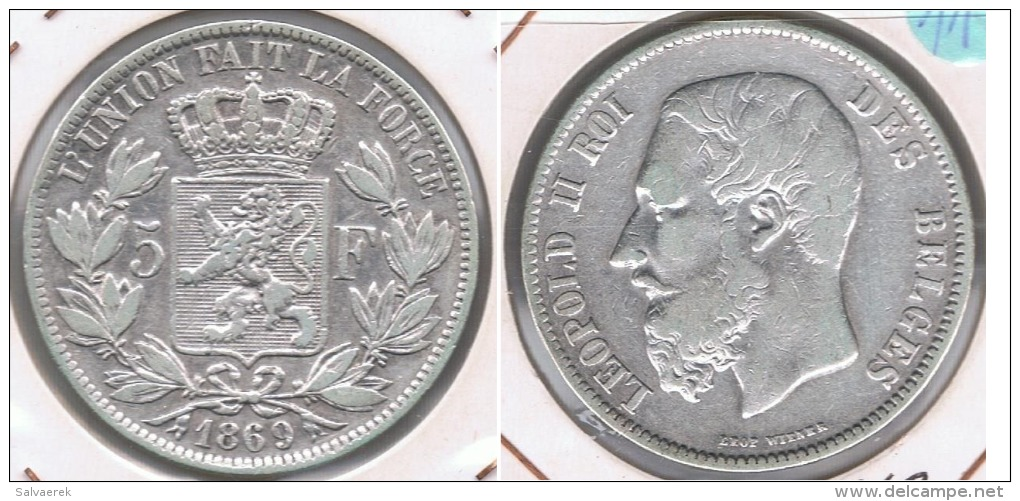 BELGICA 5 FRANCS 1869 PLATA SILVER S - 1865-1909: Leopoldo II