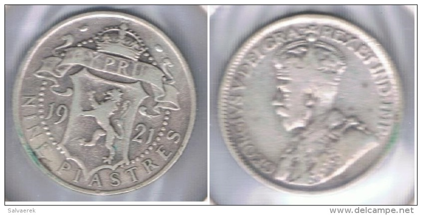 CHIPRE CYPRUS 9 PIASTRES 1921 PLATA SILVER S - Chipre