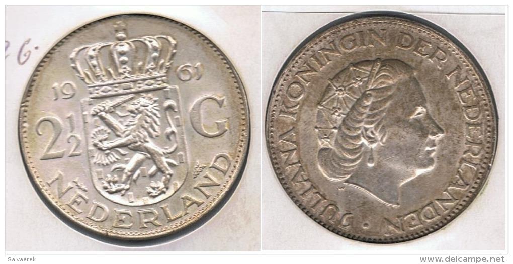 HOLANDA 2 Y MEDIO GULDEN 1961 PLATA SILVER S - [ 3] 1815-… : Reino De Países Bajos