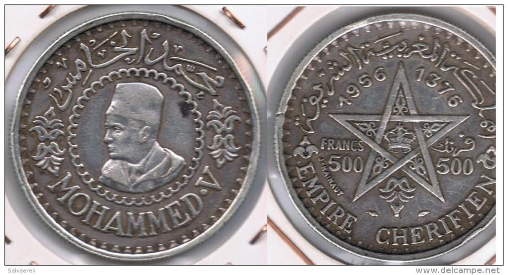 MARRUECOS EMPIRE CHERIFIEN 500 FRANCOS 1956 PLATA SILVER S2 - Marruecos
