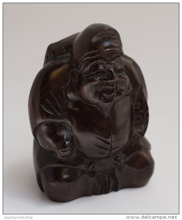 "Wooden Statuette "" Ebisu "" - Art Asiatique"
