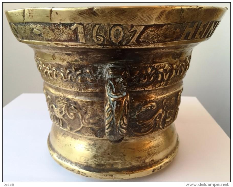 """Mortier En Bronze """"Heinrick Ter Horst Me Fecit - Anno 1607"""" - Bronzes"""