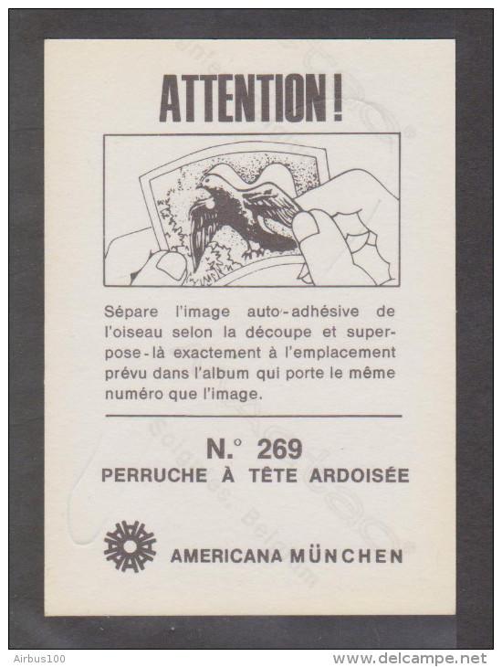AMERICANA MUNCHEN VIGNETTE ADHÉSIVE AUTO COLLANT N° 269 PERRUCHE A TÊTE ARDOISÉE - 2 Scans - - Stickers
