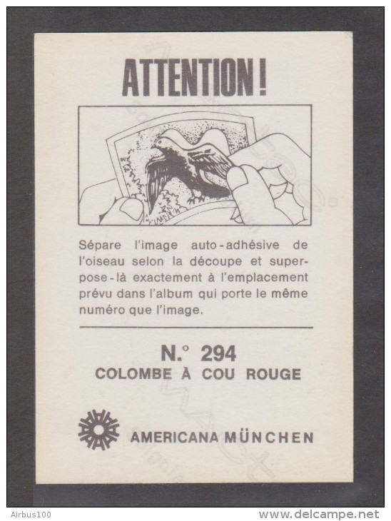 AMERICANA MUNCHEN VIGNETTE ADHÉSIVE AUTO COLLANT N° 294 COLOMBE A COU ROUGE - 2 Scans - - Stickers