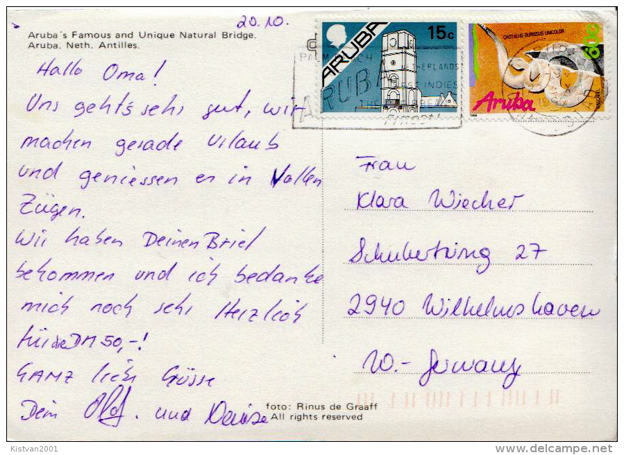 Postal History: Aruba Snake, Building Stamps On PPC - Snakes