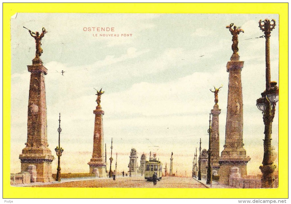 * Oostende - Ostende - Ostend (Kust - Littoral) * Le Nouveau Pont, Bridge, Brug, Animée, Tram, Vicinal, Rare, Old, CPA - Oostende
