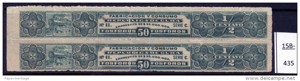 Cuba : Match Tax Stamp Series C 14½mm High Design, 135mm Long, No Imprint. Mint - Tobacco (related)