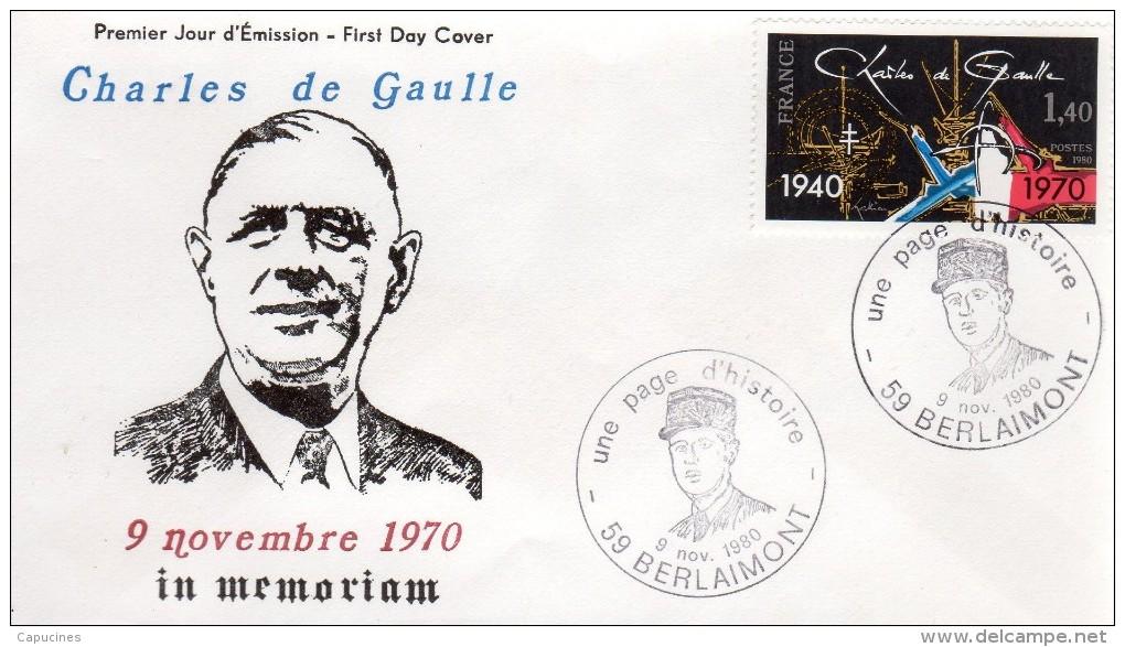 """De Gaulle - EPJ:  10e Anniv. Du Décès Du Général - """"Expo à  Berlaimont 59,  Le 9/11/80 - De Gaulle (General)"""