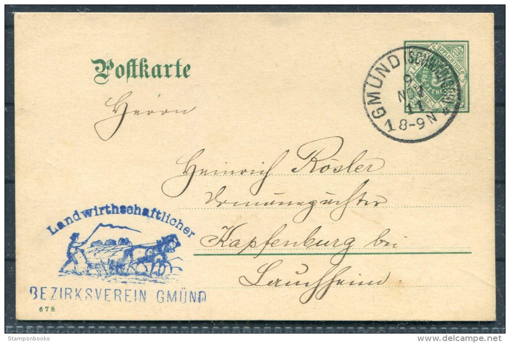 1911 Germany Wurttembeg Dienst Farm Horse Illustrated Cachet Stationery Postcard Gmund Pferde - Germany