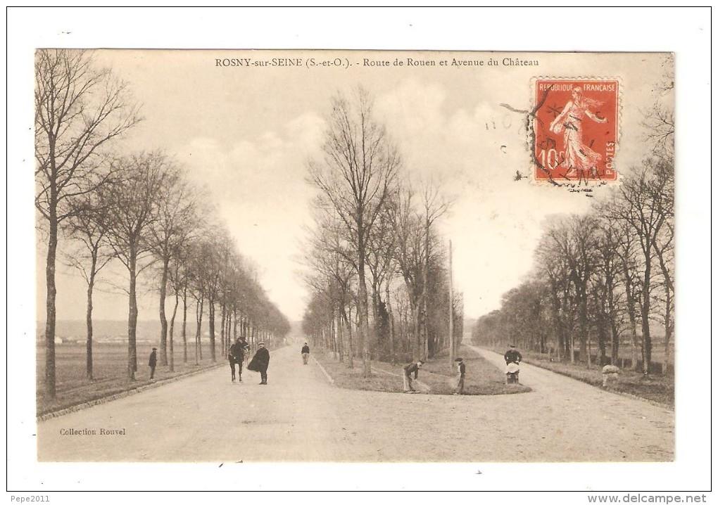 CPA 78 78 - ROSNY SUR SEINE - Route De Rouen & Avenue Du Château Hommes - Cheval - Rosny Sur Seine